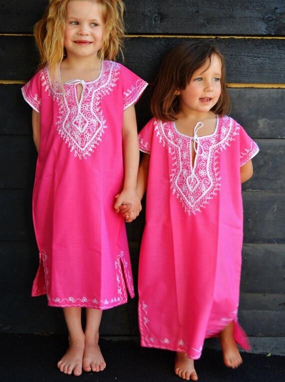 Kids Pink Marwa Resortwear Caftan Kaftan-for holiday, beach cover up, resortwear,abaya, lounge wear, playsuit for kids, summer kaftan