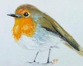 ACEO original Art,  oil painting, miniature art, Artist trading cards, robin painting, tiny painting, mini art, bird art, collectible art