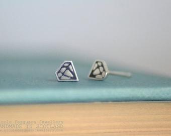 Diamond Motif Stud Earrings