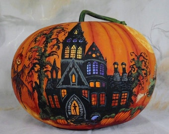 """Witches of Phantom Gully, pumpkin gourd, hand painted, 8"""" tall 10"""" diameter"""