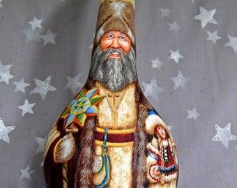 "Ded Moroz, hand painted Ukraine Santa Claus, calabash gourd, 14"" tall"