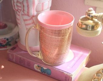 Vintage Pink Burlap Coffee Mug