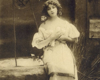 Maiden at the Well 3. Photogravure of Lilian Greuze by Leopold Reutlinger, Posted 1909