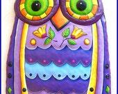 Painted Metal  Owl Wall Hanging, Owl Decor, Garden Decor, Outdoor Metal Wall Art, Painted Metal Art, Wall Art, Owl Wall Art - J-351PU