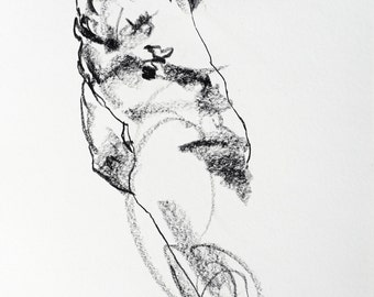 """Original Expressive Male Nude Drawing - Drawing 427 - 9 x 12"""" charcoal on paper - original drawing by Derek Overfield"""