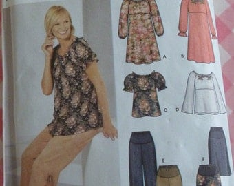 Easy to Sew Pattern Maternity Dress or Top, Pants and Skirt Sizes 6 8 10 12 Simplicity Pattern 5755 UNCUT