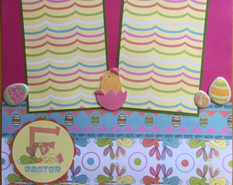 Easter Scrapbook Page, Premade Easter Scrapbook Page, Easter Scrapbook Page Layout, 12 x 12 Album Pages, Holiday Scrapbook Page