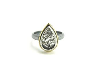 Tourmalinated Quartz Ring in Oxidized Sterling Silver - Size 6.5 - Tourmalated Quartz Ring - Black Tourmaline in Quartz