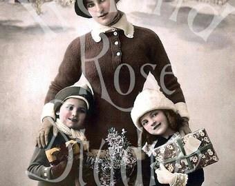 German Postcard-Vintage Photo-Holiday-Christmas-Digital Download