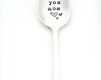 Love You Mom coffee spoon. Mom Spoon. The Original Hand Stamped Vintage Coffee Spoons by Sycamore Hill.  Mother's Day Gift. Coffee Tea Lover