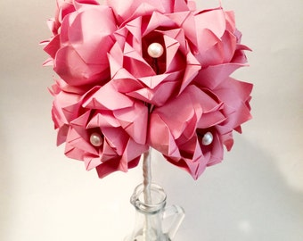 Dozen Paper Roses- Wedding bouquet, first anniversary gift, perfect for her, one of a kind paper roses, alternative, origami, paper flowers