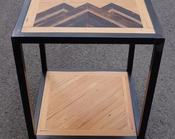 Custom End Table Welded Frame Reclaimed Wood Top