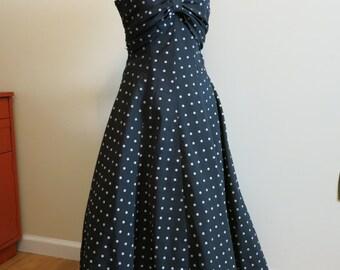Dress POLKA DOT black white crinoline rockabilly gown 1950s style M