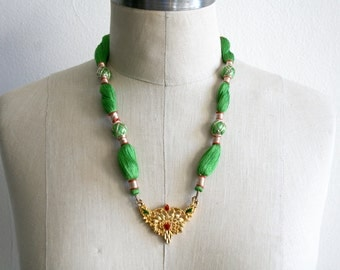 Green Indian String Necklace