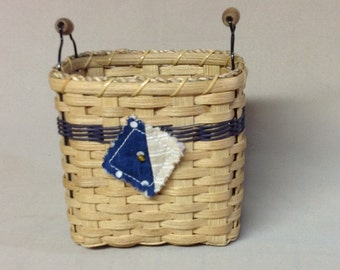 Hand Woven Basket, Wire & Wood Handles, Blue Accent Weaving, Mini Quilt Tie-on