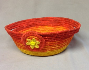 Round Coiled Fabric Bowl, Yellow, Orange, Red