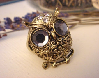 Vintage Owl Ring, Antique Gold Plated Adjustable Ring, One Size Fits All, Vintage Gifts, Statement Ring, Accessories by ChaChaMeow