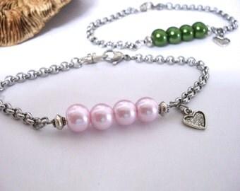 Pearl Bracelet, Birthday Bracelet, Pearl Jewelry, Birthday Gift for Girl, Pearl Birthstones, Pearl Birthstone Bracelet