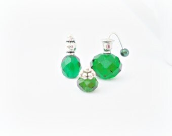 Vintage Style Emerald Green Doll House miniature One Inch Scale 12th Perfume Bottle Ladies Vanity Set
