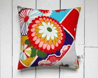 On Sale! Bright Coloured Decorative Vintage Japanese Silk Kimono Cushion Pillow 'Pop Flower 2' (1960's)
