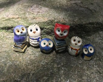 RESERVED for PAULSANDY- 2 house owls, 4 standard owls, 3 sets of books: Harry Potter Inspired Owlery Clay Miniatures and Totems