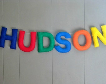 Name Banner / Nursery Decor / Kid's Room Bunting / Baby Shower Decor / Birthday Party Sign / Personalized Baby Wall Letters - MultiColor