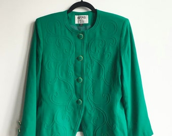 Vintage Emerald Filigree Blazer, 80s Green Jacket with Gold Trimmed Buttons