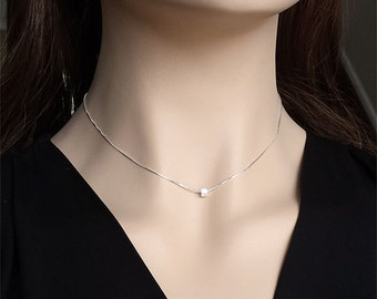 Sterling Silver 3mm Cube Minimalist Delicate Necklace  - 16 inches