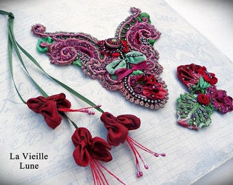 Handmade Applique Flower Motifs - Pink and Red Lace and Ribbonwork Appliques for Sewing, Jewelry, Crazy Quilt Projects