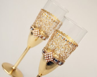 Wedding Glasses, Champagne Glasses, Champagne Flutes, Gold Wedding Glasses, Hand Painted, Set of 2