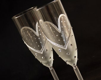 Champagne Glasses, Wedding Glasses, Champagne Flutes, Hand Painted, Set of 2