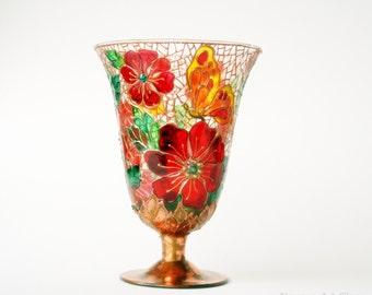 Glass Vase, Candle Holder, Hand Painted Vase, Wedding Centerpiece