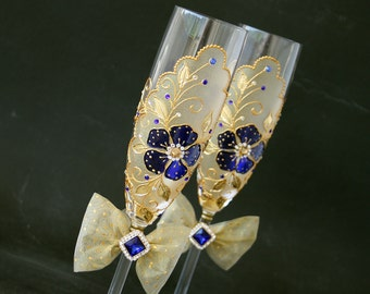 Champagne Wedding Glasses, Champagne Flutes, Gold Royal Blue Wedding, Hand Painted, Set of 2