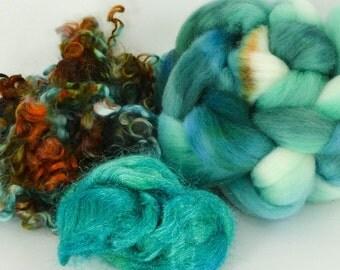 Spinning Felting Fleece Fiber Medley Cormo Top Roving Wensleydale Locks 1.8 Ounces Colorway- Lockness