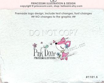 1181-6 little deer logo, fawn logo, deer illustration, custom logo, premade logo, photography business boutique