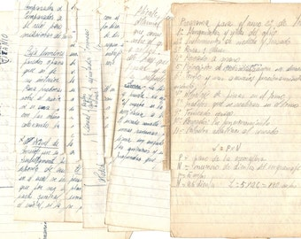 6 Children NOTE pages from 1960's - Antique PAPERS from school in Spain
