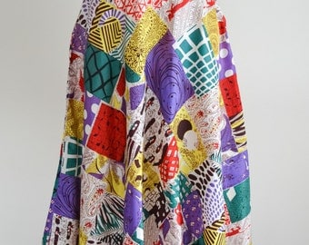 1940s Novelty patchwork print taffeta / 40s printed rayon day skirt - XS S
