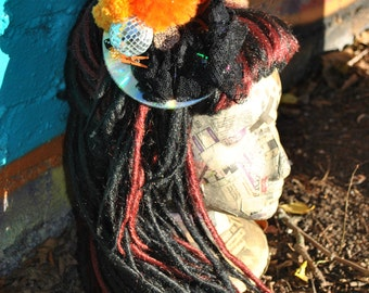 Orange Black Disco Ball Upcycled CD Fascinator Hair Hat Clip Mirror Feather PomPom Leopard Button Lace Burlesque Recycled Wedding Festival
