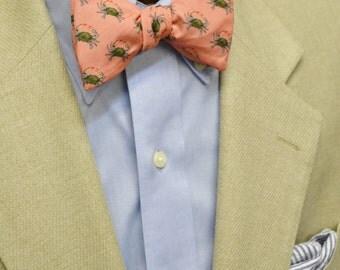 Blue Crab Fabric, Adjustable, Freestyle, Pre-tied, Bow Tie, Neck Tie, Coastal Bow Tie, Critter Bow Tie, Beach Wedding Bow Tie, Mens Gift