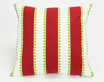 Modern Christmas Stripes and Dots Throw Pillow Cover - 12 inch