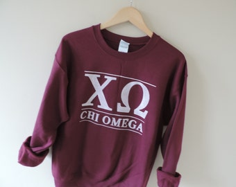 New Chi Omega Maroon Stripe Crewneck Sweatshirt // Size S-XL