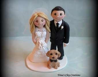 Wedding Cake Topper, Custom Bride and Groom, Dog, Pet, Polymer Clay, Wedding/Anniversary Keepsake