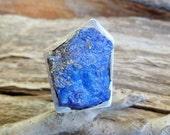 Rough Lapis Lazuli Ring. Adjustable Ring. Open Ring. Sterling Silver Lapis Lazuli Ring. Open Ring. Lapis Lazuli Ring. Lapis Lazuli Propertie