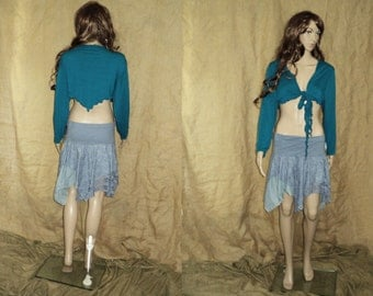 L-XL UpcYcLED pointy pointed feary elven woodland vest teal
