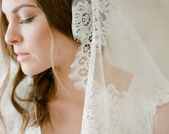 Lace Mantilla Veil, Chantilly Lace Mantilla Veil, Bridal Veil, Lace Edge Veil, Mantilla Veil, Lace trimmed circle veil