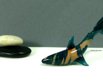 Sea Blue Green Glass Shark Sculpture - Handmade Beach Decor