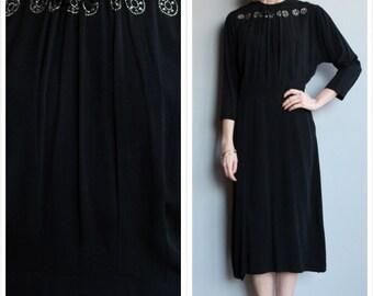 1940s Dress // Black Widow Dress // vintage 40s crepe dress