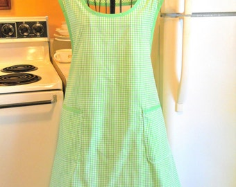 Old Fashioned Grandma Style Lime Green Gingham Apron MADE TO ORDER