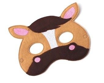Kids Horse Mask, Pony, Horse Costume, Felt Mask, Kids Face Mask, Animal Mask, Halloween Costume, Pretend Play, Dress Up, Party Favors