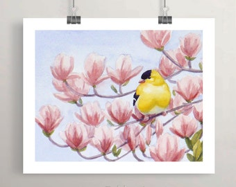 Goldfinch Bird Print, Watercolor Nursery Wall Art, Unframed Kids Room Decor by Janet Zeh